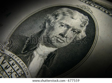 Thomas Jefferson from the front of a $10 bill. - stock photo