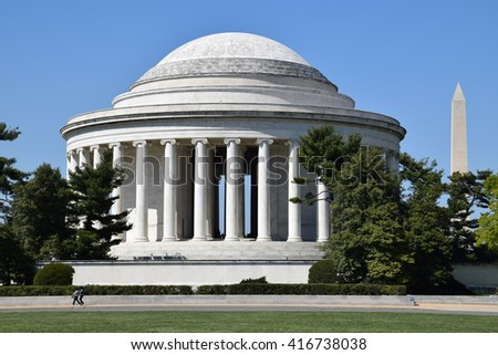 Thomas Jefferson Memorial and Washington Monument in Washington, DC - stock photo