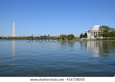 Thomas Jefferson Memorial and Washington Monument in Washington, DC