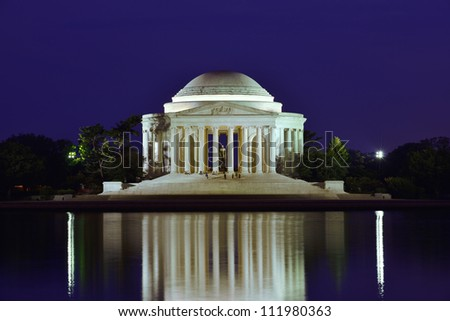Thomas Jefferson Memorial at night in Washington DC, USA