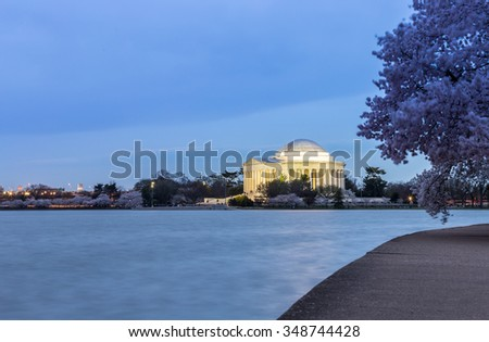 Thomas Jefferson Memorial building at dusk Washington, DC