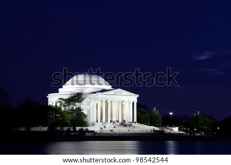 Thomas Jefferson Memorial with reflecting in the Tidal Basin in Washington DC at dusk shortly after sunset with dramatic skies