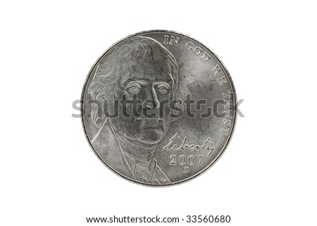 Thomas Jefferson nickel coin with clipping path. - stock photo