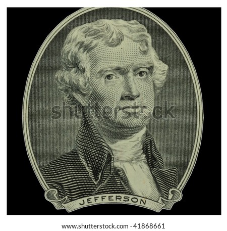 Thomas Jefferson portrait from two dollar bill - stock photo
