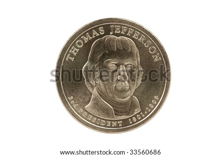 Thomas Jefferson Presidential Dollar coin with clipping path. - stock photo