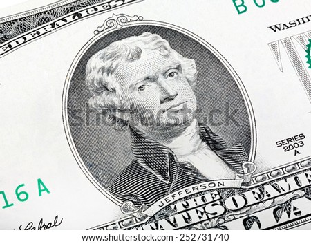 Thomas Jefferson. Qualitative portrait from 2 lucky dollars bill. Made an angle end stacked. - stock photo