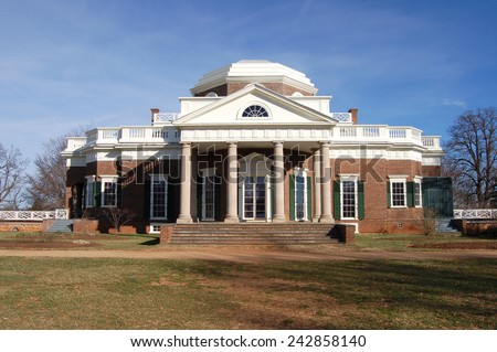 Thomas Jefferson's home, Monticello, in Charlottesville, VA - stock photo