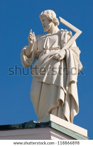 Thomas the Apostle. One of the statues of the Twelve Apostles at the apexes and corners of the roof line of Helsinki Cathedral, Finland.