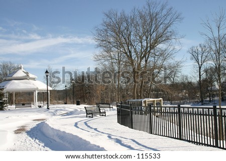 Thornapple River in Middleville Michigan on a very cold day - stock photo