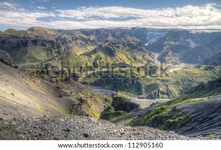 Thorsmork in Iceland beside the famous volcano Eyjafjallajokull - stock photo