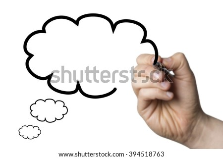 thought bubble drawn by a hand isolated on white background