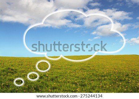 Thought Bubble on Bright and Positive Background - stock photo