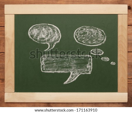 thought bubbles on blackboard - stock photo