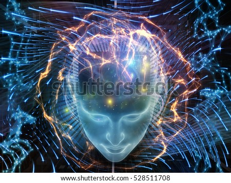 Thought Swirl series. Composition of human head, numbers and glowing lines on subject of science, technology and education