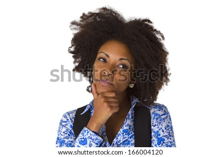 Thoughtful african amercan woman isolated on white background - stock photo