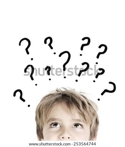 Thoughtful boy isolated on white background  - stock photo