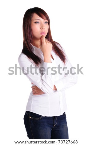 Thoughtful business woman - isolated over a white background