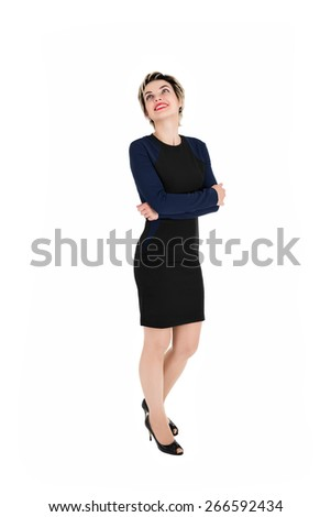 Thoughtful business woman looking up. Isolated over white