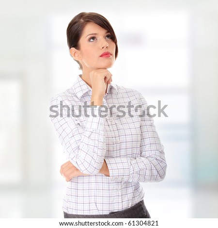 Thoughtful business woman portrait - stock photo