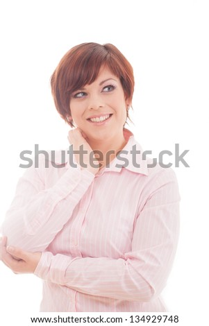 Thoughtful business woman smiling  isolated over white