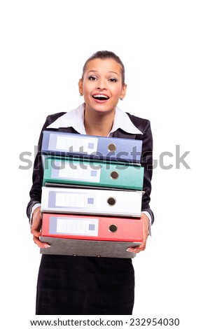thoughtful business woman with documents - stock photo