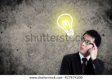 thoughtful businessman and light idea bulb