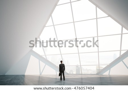Thoughtful businessman in bright spacious interior with panoramic window, city view and daylight. 3D Rendering