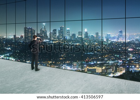 Thoughtful businessman looking into the distance in interior with concrete floor and panoramic windows with illuminated night city view. 3D Rendering