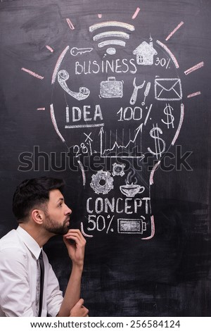 Thoughtful businessman on chalkboard background. Painted lightbulb with business ideas on chalkboard. Concept for success - stock photo