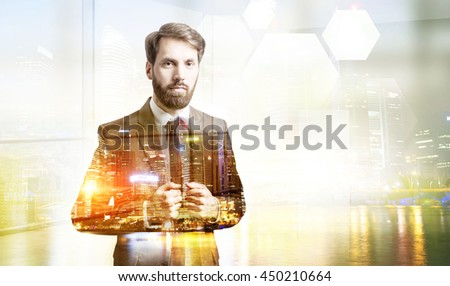 Thoughtful businessman on illuminated night Singapore city background with copy space. Double exposure  - stock photo