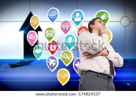 Thoughtful businessman with hand on chin against arrow on technological background