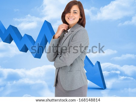 Thoughtful businesswoman against arrow in the sky in blue