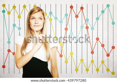 Thoughtful businesswoman on colorful business chart background - stock photo