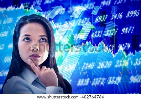 Thoughtful businesswoman with finger on chin against stocks and shares - stock photo