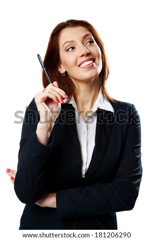Thoughtful businesswoman woman holding pen isolated on white background - stock photo