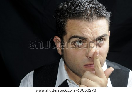 Thoughtful funny man - stock photo