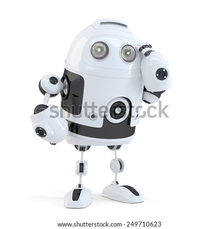 Thoughtful handsome robot. Isolated over white background. Contains clipping path