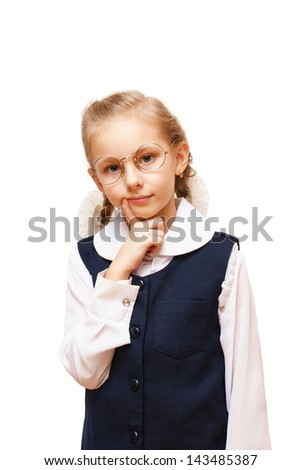 Thoughtful little girl in round spectacles