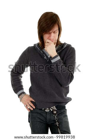 Thoughtful man looking down on white background - stock photo