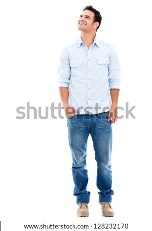 Thoughtful man looking up - isolated over a white background - stock photo