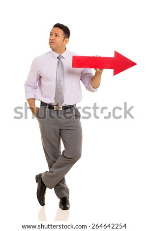 thoughtful middle aged man with red direction arrow on white background - stock photo