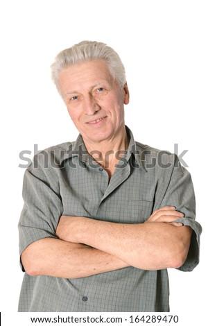 Thoughtful senior man isolated on white background - stock photo