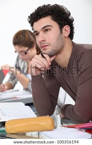 Thoughtful student - stock photo