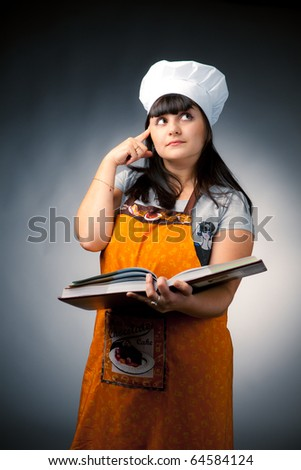 thoughtful woman cook - stock photo