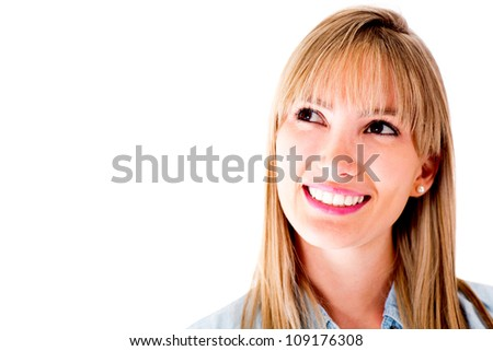 Thoughtful woman smiling - isolated over a white background