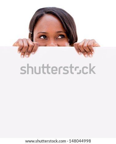 Thoughtful woman with a banner - isolated over a white background