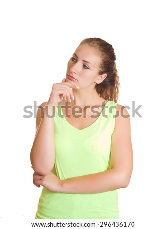 Thoughtful young girl on a white background. - stock photo
