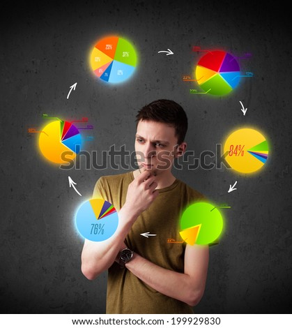 Thoughtful young man with colorful pie charts circulating around his head - stock photo