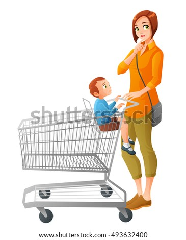 Thoughtful young mother with little boy sitting in shopping cart. Cartoon illustration isolated on white background.