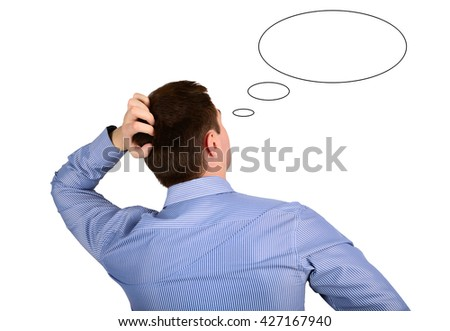 Thoughts and ideas of business men. Concept ideas and thoughts - stock photo